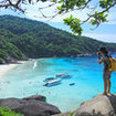 View of beachfront in front of the national park camp, Similan Island No. 8